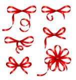 Συλλογής τόξα δώρων που απομονώνονται κόκκινα Στοκ εικόνα με δικαίωμα ελεύθερης χρήσης