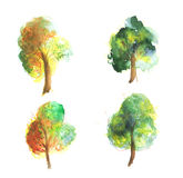 Συλλογή δέντρων Watercolor Στοκ φωτογραφία με δικαίωμα ελεύθερης χρήσης