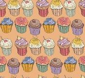Συλλογή έξι cupcakes Διανυσματικά άνευ ραφής απεικόνιση και υπόβαθρο Στοκ φωτογραφία με δικαίωμα ελεύθερης χρήσης