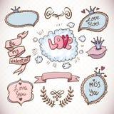 Συλλογή αγάπης κινούμενων σχεδίων Doodle Στοκ φωτογραφία με δικαίωμα ελεύθερης χρήσης