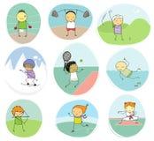 Συλλογή αθλητικών παιδιών doodle Στοκ εικόνες με δικαίωμα ελεύθερης χρήσης