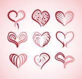 Συλλογή απεικόνισης των καρδιών με τις διαφορετικές μορφές Στοκ Εικόνες