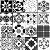Συλλογή από τα άνευ ραφής διανυσματικά σχέδια στο αναδρομικό ύφος Στοκ Εικόνες