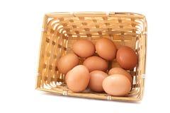 Συλλογή αυγών στο καλάθι που απομονώνεται στο λευκό Στοκ Εικόνες