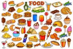 Συλλογή αυτοκόλλητων ετικεττών για το αντικείμενο τροφίμων και ποτών απεικόνιση αποθεμάτων