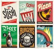 Συλλογή αφισών τροφίμων και ποτών διανυσματική απεικόνιση