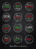 Συλλογή αφισών των καλυμμάτων μπύρας. Κιμωλία χρώματος. Στοκ φωτογραφίες με δικαίωμα ελεύθερης χρήσης