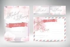 Συλλογή γαμήλιων καρτών Διανυσματική γραφική παράσταση που απεικονίζει τον τρύγο Στοκ Εικόνες