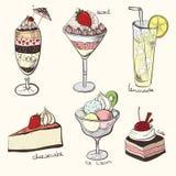 Συλλογή, γλυκά, εύγευστα γλυκά επιδορπίων, ελεύθερη απεικόνιση δικαιώματος