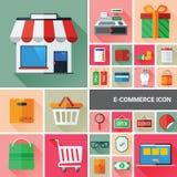 Συλλογή εικονιδίων ηλεκτρονικού εμπορίου Στοκ Εικόνες