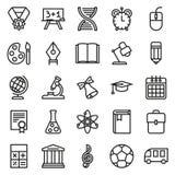 Συλλογή εικονιδίων περιλήψεων Σχολική εκπαίδευση Στοκ Φωτογραφίες