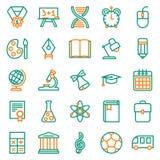 Συλλογή εικονιδίων περιλήψεων Σχολική εκπαίδευση Στοκ Εικόνα