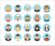 Συλλογή εικονιδίων προσώπων Εικονίδια χαρακτήρα καθορισμένα επεξηγώντας τα επαγγέλματα, τους τρόπους ζωής, τα έθνη και τους πολιτ Στοκ Φωτογραφία