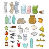 Συλλογή εικονιδίων σκουπιδιών Σύνολο απορριμάτων Σημάδι απορριμμάτων σύμβολο απορριμάτων ελεύθερη απεικόνιση δικαιώματος