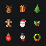 Συλλογή εικονιδίων χρώματος Χριστουγέννων - διανυσματική απεικόνιση Στοκ Εικόνες