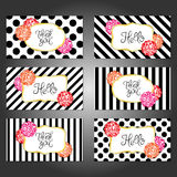 Συλλογή 6 εκλεκτής ποιότητας προτύπων καρτών με τα λουλούδια Στοκ Φωτογραφία
