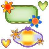 Συλλογή εμβλημάτων με τα λουλούδια και τις καρδιές Στοκ Φωτογραφία