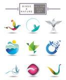 Συλλογή εμβλημάτων πουλιών διανυσματική απεικόνιση