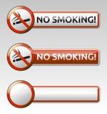 Συλλογή εμβλημάτων σημαδιών απαγόρευσης απαγόρευσης του καπνίσματος Στοκ Φωτογραφία