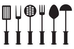 Συλλογή εργαλείων κουζινών - σκιαγραφία Στοκ Εικόνες