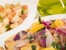 Συλλογή ζυμαρικών - Shell-ζυμαρικά και Linguini με τις γαρίδες Στοκ Φωτογραφίες