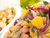 Συλλογή ζυμαρικών - Shell-ζυμαρικά και Linguini με τις γαρίδες Στοκ Εικόνες