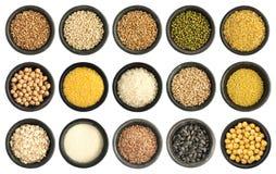 Συλλογή δημητριακών και σπόρων που απομονώνεται Στοκ φωτογραφίες με δικαίωμα ελεύθερης χρήσης