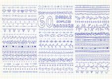 Συλλογή 60 διανυσματικών άνευ ραφής συνόρων στο ύφος doodle απεικόνιση αποθεμάτων