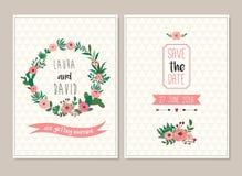 Συλλογή καρτών γαμήλιας πρόσκλησης ελεύθερη απεικόνιση δικαιώματος