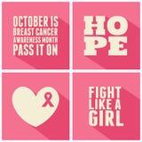 Συλλογή καρτών συνειδητοποίησης καρκίνου του μαστού Στοκ Εικόνα