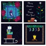 Συλλογή καρτών Χριστουγέννων Στοκ Εικόνα