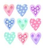 Συλλογή καρδιών Watercolor Στοκ φωτογραφία με δικαίωμα ελεύθερης χρήσης