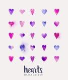 Συλλογή καρδιών Watercolour Στοκ φωτογραφία με δικαίωμα ελεύθερης χρήσης