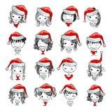 Συλλογή κοριτσιών Santa, σκίτσο για το σχέδιό σας Στοκ Εικόνες