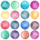 Συλλογή κύκλων Watercolor στα χρώματα κρητιδογραφιών Στοκ Εικόνες