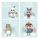 Συλλογή με τις κάρτες Χριστουγέννων Στοκ εικόνα με δικαίωμα ελεύθερης χρήσης