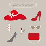 Συλλογή μόδας γυναικών των κόκκινων εξαρτημάτων Στοκ Φωτογραφίες