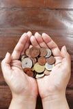 Συλλογή νομισμάτων σε διαθεσιμότητα Στοκ Φωτογραφία