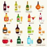 Συλλογή ποτών οινοπνεύματος επίσης corel σύρετε το διάνυσμα απεικόνισης ελεύθερη απεικόνιση δικαιώματος