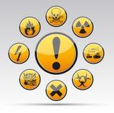 Συλλογή σημαδιών κινδύνου κύκλων Στοκ φωτογραφίες με δικαίωμα ελεύθερης χρήσης