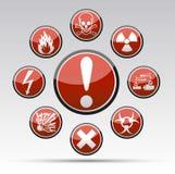 Συλλογή σημαδιών κινδύνου κύκλων Στοκ Εικόνα