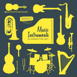 Συλλογή σκιαγραφιών οργάνων μουσικής Στοκ εικόνα με δικαίωμα ελεύθερης χρήσης