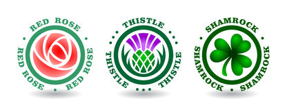 Συλλογή στρογγυλού logotypes με ροδαλό, κάρδος, τριφύλλι Εθνικά σύμβολα της Αγγλίας, Σκωτία, Ιρλανδία διανυσματική απεικόνιση
