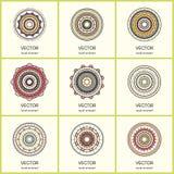 Συλλογή 9 στρογγυλών διακοσμήσεων Στοκ Εικόνα