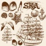 Συλλογή συρμένων των χέρι εκλεκτής ποιότητας στοιχείων στο θέμα θάλασσας Στοκ Εικόνες