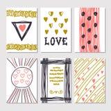 Συλλογή συρμένων των χέρι ρομαντικών καρτών και των προσκλήσεων trendy Στοκ Φωτογραφία