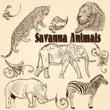 Συλλογή της αφρικανικής σαβάνας ζώων Στοκ εικόνες με δικαίωμα ελεύθερης χρήσης
