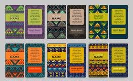 Συλλογή της ζωηρόχρωμης διακοσμητικής επαγγελματικής κάρτας Στοκ Εικόνα