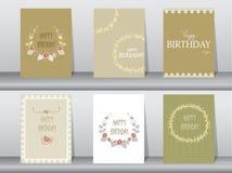 Συλλογή της κάρτας πρόσκλησης ή γενεθλίων με το floral πλαίσιο, διανυσματικές απεικονίσεις διανυσματική απεικόνιση