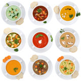 Συλλογή της σούπας σουπών φλυτζανιών ντοματών νουντλς που απομονώνεται στο φυτικό Στοκ εικόνες με δικαίωμα ελεύθερης χρήσης
